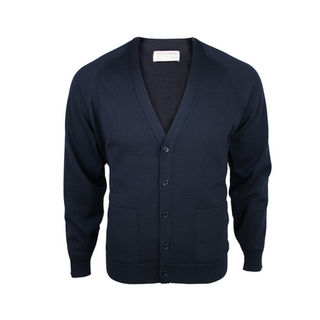 Extrafine Merino Classic Fit Cardigan - Dark Navy