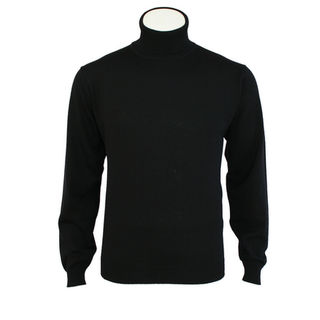 Extrafine Merino Classic Fit Roll Neck - Black
