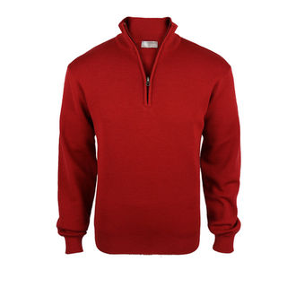 Pure Wool Mid-Weight 1/4 Zip - Red