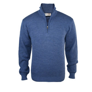 Pure Wool Mid-Weight 1/4 Zip - Mystic Blue