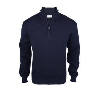 Pure Wool Mid-Weight 1/4 Zip - Dark Navy