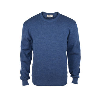 Pure Wool Mid-Weight Crew - Mystic Blue