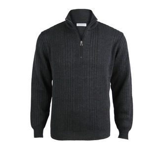 NZ Made Extrafine Merino 1/4 Zip - Charcoal
