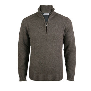 Merino & Lambswool Regular Fit 1/4 Zip - Chestnut