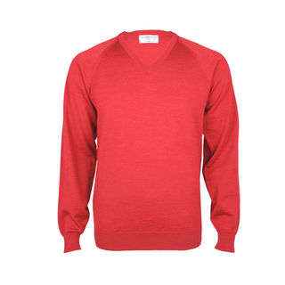 Extrafine Merino Classic Fit Vee- Red