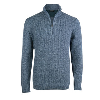 Textured Front 1/4 Zip Pullover - Tailored Fit. Blue Marble.