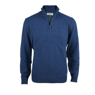 1/4 Zip Pullover with Rib Detail.  Ink