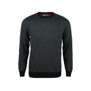 Contrast Detail Crew Neck - Tailored Fit.  Charcoal