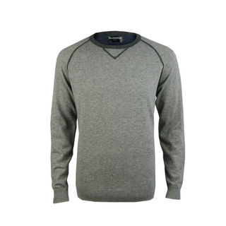 Crew Contrast Stitch Pullover - Tailored Fit.  Grey Marl/Graphite