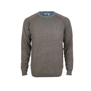 Crew Contrast Stitch Pullover - Tailored Fit.  Chocolate/Graphite