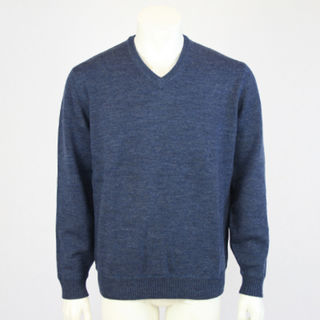Mid Weight Pure Wool Vee - Denim