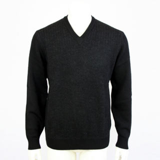 Pure Wool Jacquard Vee - Black