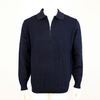 Mid Weight Ribbed Zip & Collar - Dk Navy