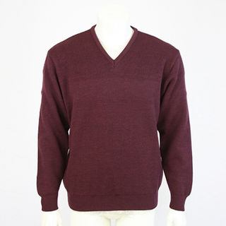 NZ Made V Neck Textured - Plum