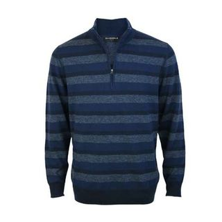 Extrafine Merino Tailored Fit 1/4 Zip - Navy/Blue Stripe