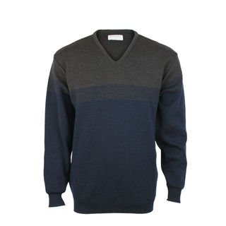 NZ Made Jacquard Knit Vee- Dark Navy