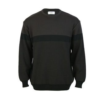 NZ Made Crew Neck Jacquard - Chocolate
