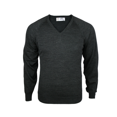 Extrafine Merino Classic Fit Vee - Charcoal