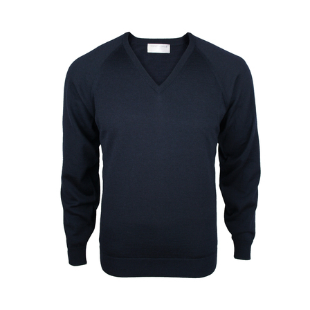Extrafine Merino Classic Fit Vee - Dark Navy