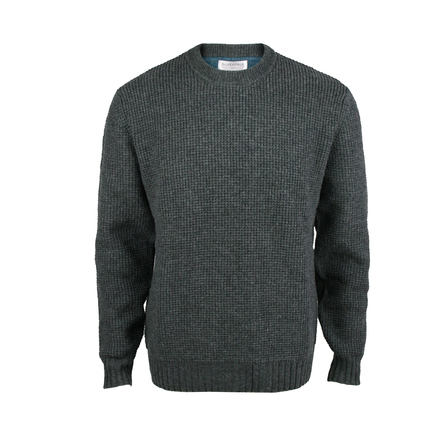 Textured Crew Neck Pullover.  Charcoal