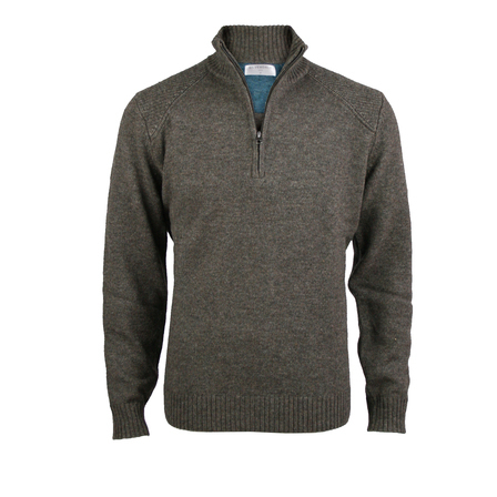 1/4 Zip Pullover with Rib Detail.  Chestnut