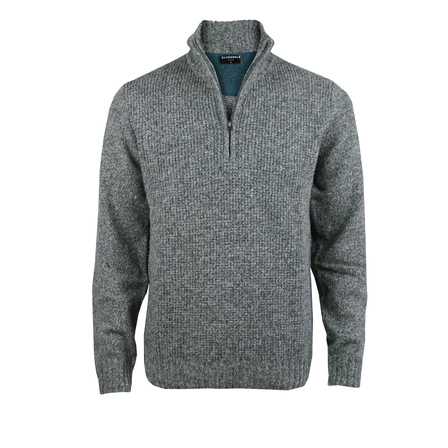 Textured Front 1/4 Zip Pullover - Tailored Fit.  Pepper