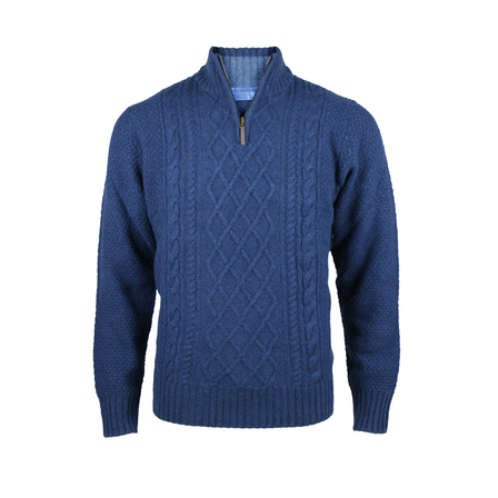 Chunky Cable Front 1/4 Zip.  Midnight