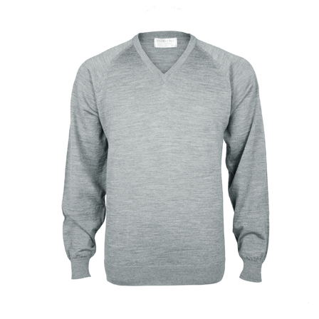 Extrafine Merino Classic Fit Vee- Pale Grey