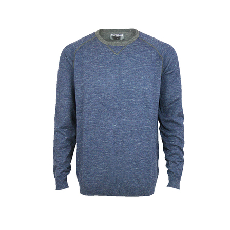 Crew Contrast Stitch Pullover - Tailored Fit.  Ocean/Graphite