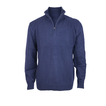 1/4 Zip Shoulder Detail Pullover - Regular Fit.  Ink