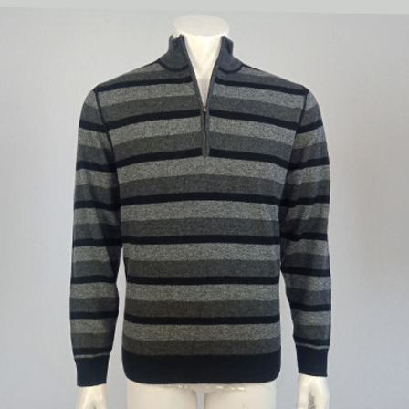 Extrafine Merino Tailored Fit 1/4 Zip - Blk/Grey Stripe