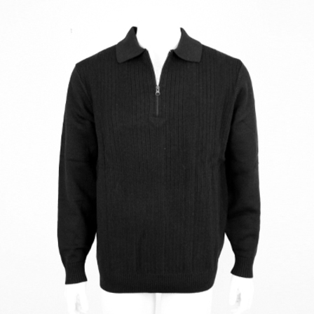 Mid Weight Ribbed Zip & Collar - Black