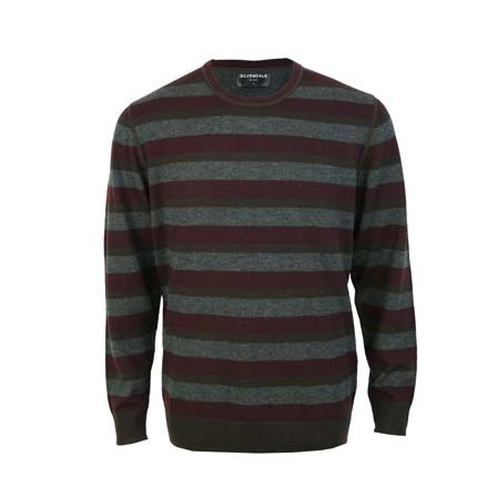 Extrafine Merino Tailored Fit Crew - Burgundy/Grey Stripe