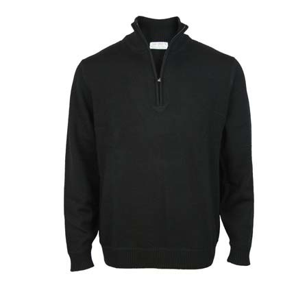 Pure Wool 1/4 Zip - Black